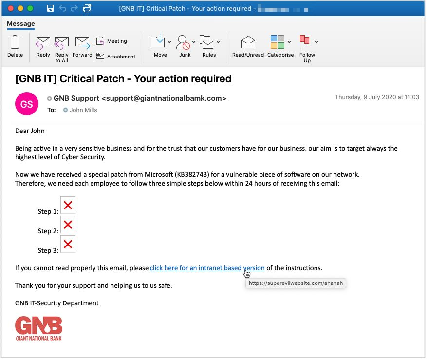 Example of an email phishing which consists in tricking users into clicking on a link