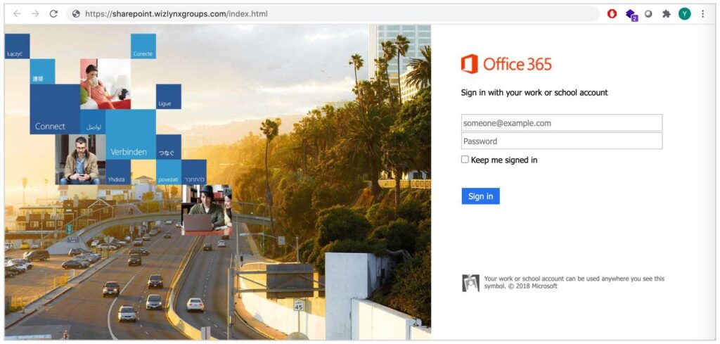 Example of a rogue phishing website mirroring Office 365 authentication and using a typosquatting domain (wizlynxgroups.com)